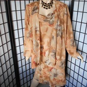 S.L. FASHIONS Sz 18W 2 PC Evening Dress/Jacket